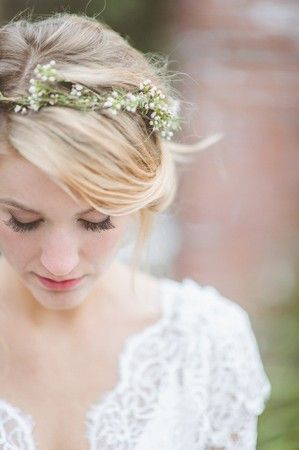 I love the eyelashes, pink lip, flower wreath and white lace
