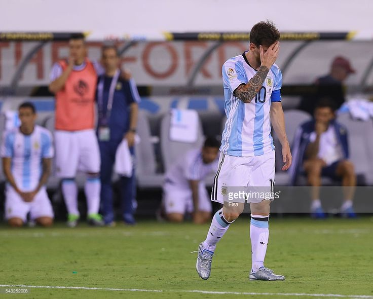Lionel Messi #10 of Argentina reacts after he missed a penalty kick against Chile during the Copa America Centenario Championship match at MetLife Stadium on June 26, 2016 in East Rutherford, New Jersey.Chile defeated Argentina 0-0 with the 4-2 win in the shootout.