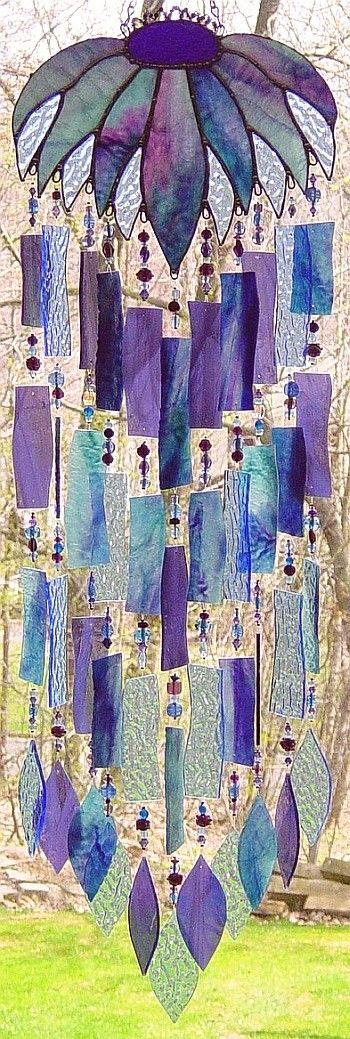 Beautiful...Blues , Purples Stained Glass Windchime...