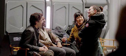 """Oscar Isaac, John Boyega, Kelly Marie Tran and Daisy Ridley on the set of Star Wars: The Last Jedi. """