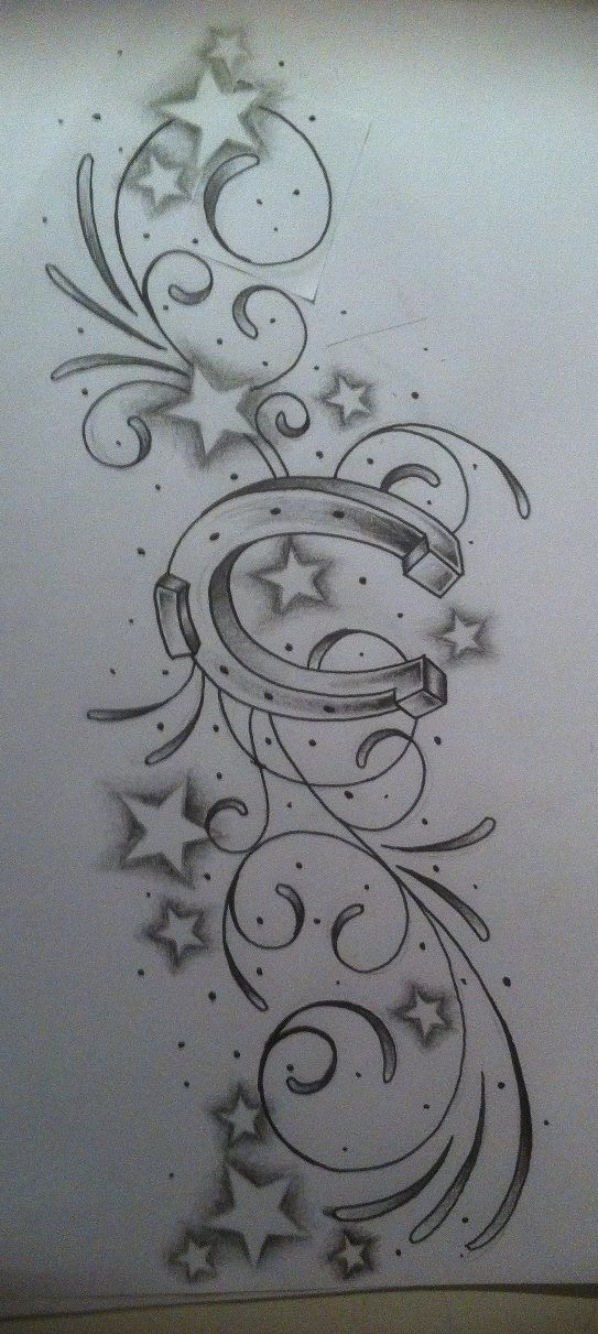 Horse Shoe tattoo desgin   make starts a pawprint and flowers.