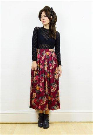 90s+maroon+winter+floral+pleated+midi+skirt