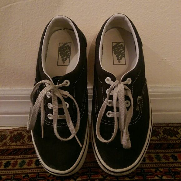7.5 Black Vans - Gently used Worn a few times. Soles cleaned thoroughly. Vibrant black color. Vans Shoes Sneakers