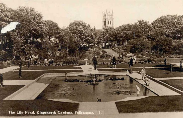Kent, Folkestone, The Lily Pond, Kingsnorth Gardens ...