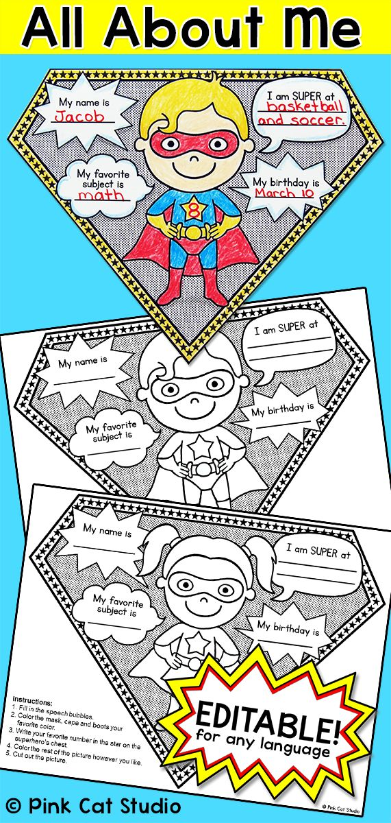 "All About Me Superhero Pennants: Perfect for the first day of school! Your students will have a blast with this fun Superhero theme ""All About Me"" activity. There are 4 superheroes to choose from, two boys and two girls. An editable PowerPoint is included so that you can change the text to any language and even change what your students will write about. The completed pennants will look fantastic on a bulletin board and you can even string them together and hang them in your classroom."