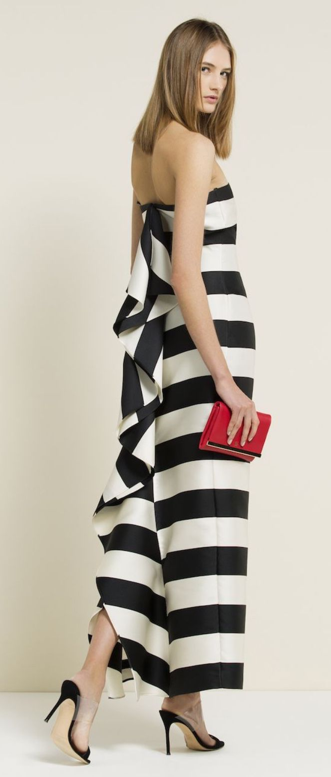 Women's fashion | Chic striped dress | Carolina Herrera 2015