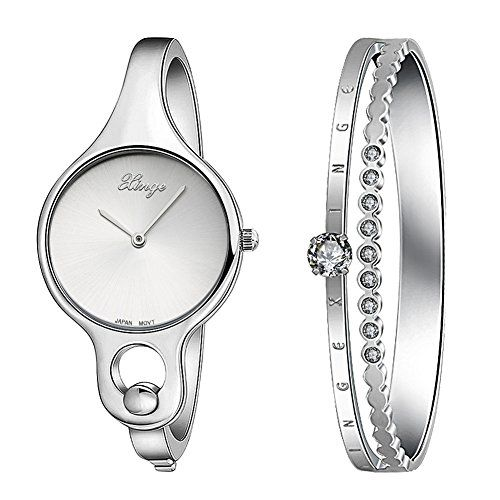 Xinge W3678-S Women's Silver Bangle Watches Set with Crystals Stainless Steel Bracelet