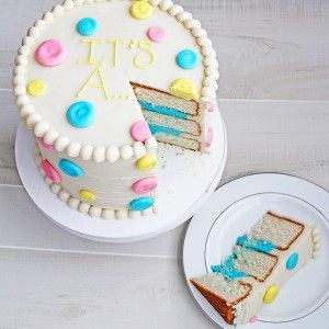 Gender Reveal Cake using frosting