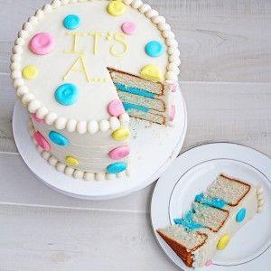 Gender Reveal Cake using frosting
