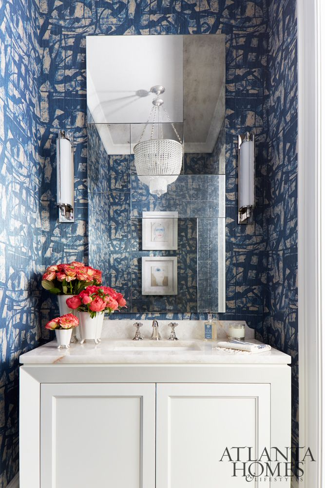 Digital Art Gallery A beautiful blue wallpapered bathroom by Melanie Millner