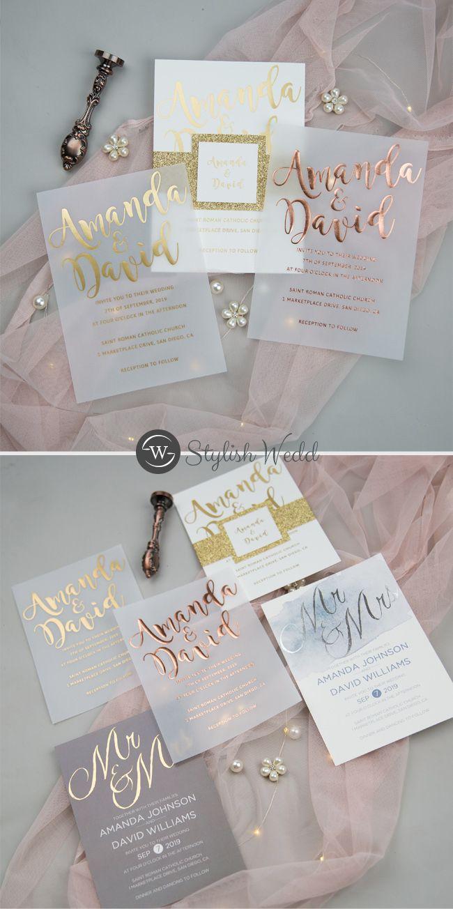 Gold Foil Wedding Weddinginvitations Stylishwedd Stylishweddinvitations Foil Wedding Invitations Unique Wedding Invitations Printing Wedding Invitations