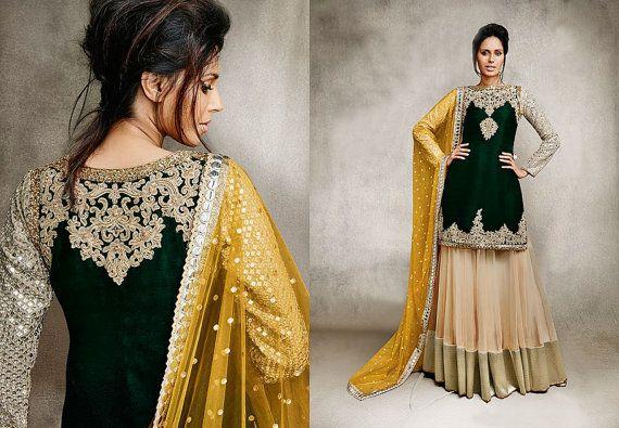 Bollywood Indian Salwar Kameez Beige and Black Net And Santoon Salwar Kameez Designer Party Wear Beauty Suit Indian Ethnic Salwar Kameez