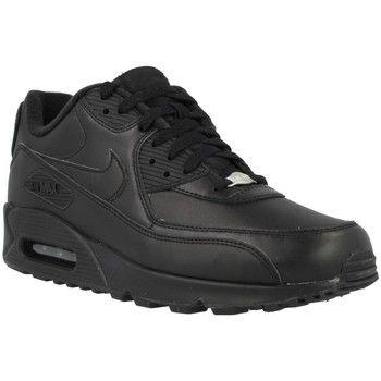 trendy Nike air max 90 leather heren sneakers (Zwart)