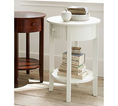 Julia Bedside Table @ Pottery Barn / Bedroom 2 / White nightstands with aqua lamps & white dresser