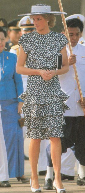 3 February 1988 Diana arriving in Bangkok, Thailand for her 3 day visit with her husband Prince Charles, as guests of the Thai King and Queen