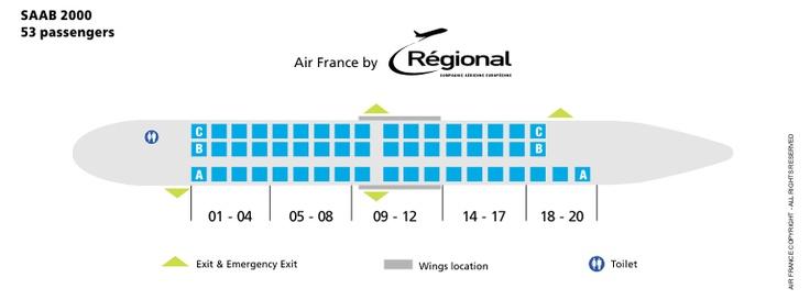 AIR FRANCE AIRLINES SAAB 2000 AIRCRAFT SEATING CHART
