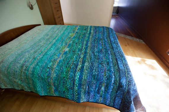Modern Queen Size Quilt named Oceanic Dreams is a One-of-a-kind modern quilt - ready to ship - by Btaylor Quilts