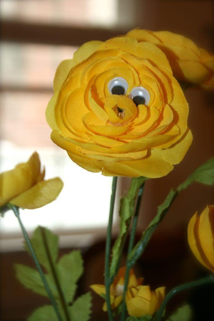 Easy decoration. Googly eyes on fake flowers.