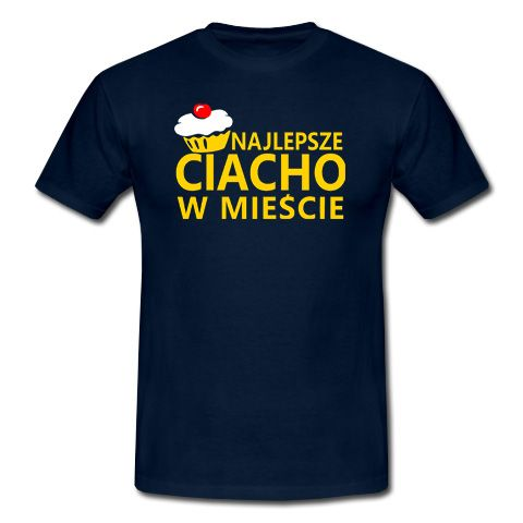 """Koszulka idealna dla przystojniaków. Granatowy T-shirt z żółtym, dobrze widocznym napisem """"Najlepsze ciacho w mieście"""" oraz śliczną i apetyczną babeczką udekorowaną wisienką. Całość wygląda świetnie. http://hiw.pl/koszulka-najlepsze-ciacho-w-miescie/"""