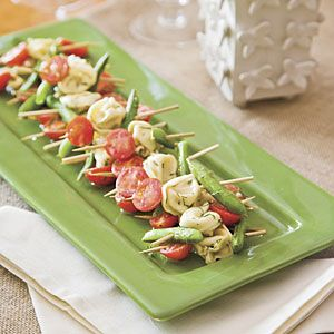 Easter Appetizers | Mustard-Dill Tortellini Salad Skewers—When served on skewers, this pasta salad makes a beautifully presented appetizer for your Easter brunch . If you are pressed for time or want to make it a meal, skip the skewers and toss all of the ingredients in a bowl with dressing just before serving. | SouthernLiving.com: Snap Peas, Appetizers Recipes, Pasta Salad, Sugar Snap, Parties Appetizers, Skewers Recipes, Tortellini Skewers, Salad Skewers, Tortellini Salad