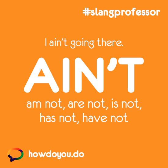 Ain't - am not, are not, is not, has not, have not. #slang