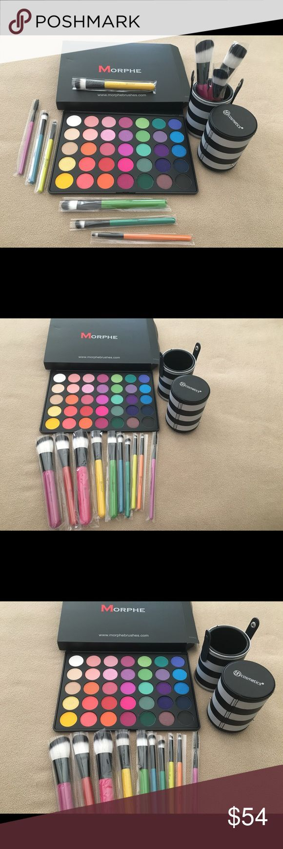 Morphe multicolor glam plus BH Cosmetics brush set All authentic! Directly from Morphe and BH Cosmetics, both brand new as you can see in pictures!  Colorful and cheerful set :) Morphe Makeup Eyeshadow