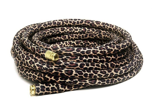 Leopard printed garden hose skin