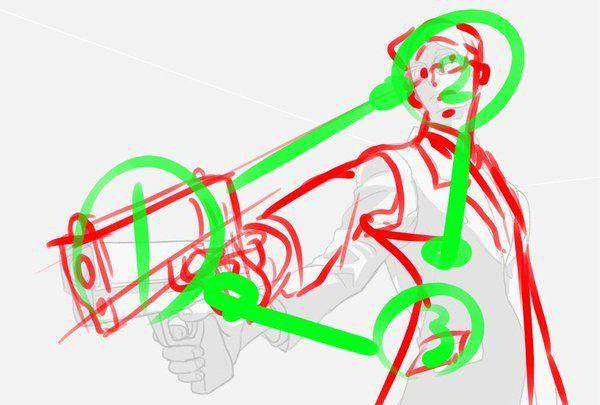 目線誘導補助です。 画面を支配する配置、目線の動きを作ります。 このようにわかりやすく「三角」の構図を入れると安定した画面になります。