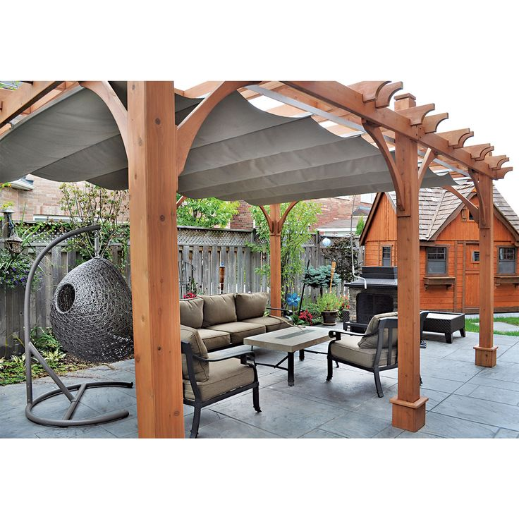 Outdoor Pergola With Canopy 12X16|Cedar|Storage Solutions|Thos. Baker