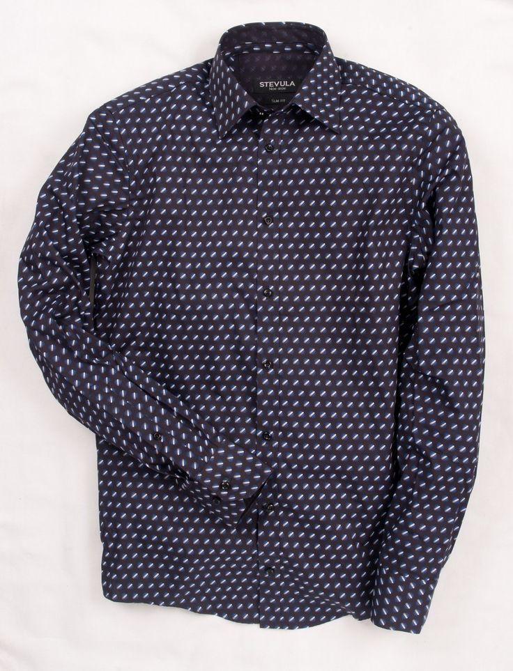 Čierna pánska SLIM FIT košeľa STEVULA