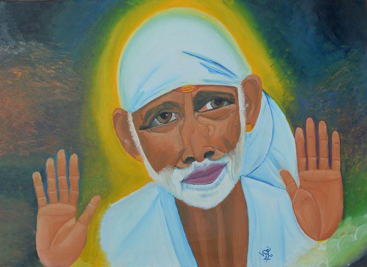 sai baba oil painting