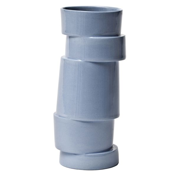 """When visiting the Designer Zoo in Copenhagen, we flipped for these playful Stacked Vases by artist Lars Rank. Each vase consists of five stacked and staggered rings lending the vase a tension between order and chaos. Each is unique. Limited quantities. Made in Denmark. Size: 2.5 x 7"" Color: Dove blue"