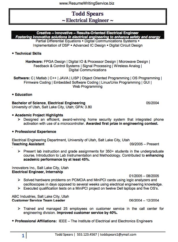 The 25+ best Electrical engineering jobs ideas on Pinterest - example engineering resume