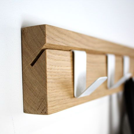 THE WOOD COLLECTOR | John Green 45 oak hook. Hooks slide along in this simple yet practical design | http://shop.johngreendesigns.co.uk/