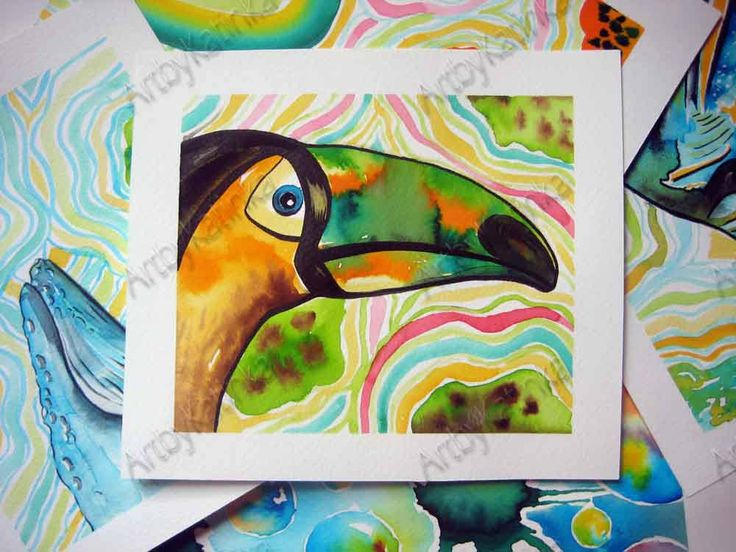 Original Watercolor Painting,Animal Art,Toucan,Children room art,Handmade painting,Birhday gift,Wall Art,Home Decor, Paintig Gift by ARTbyKatinka on Etsy