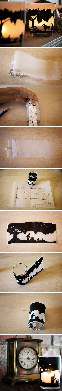 剪影营造出小意境的杯子烛台。