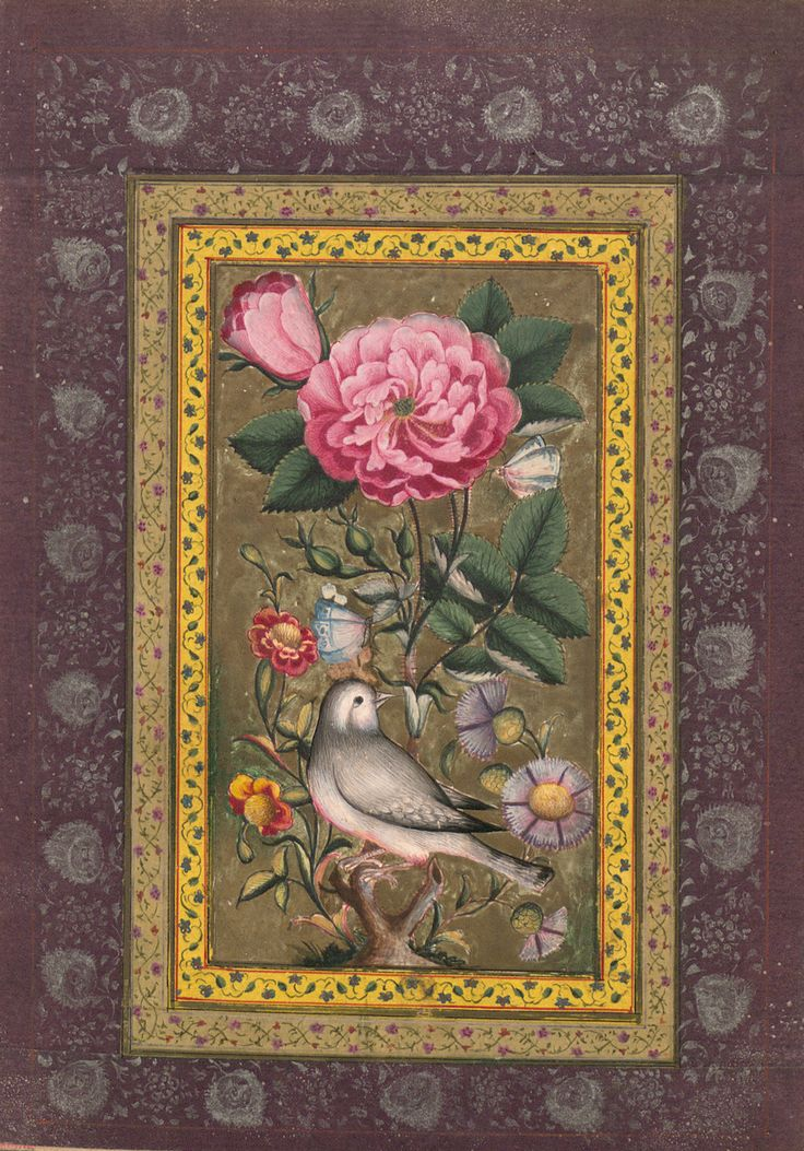 Nightingale with rose from the Qajar Album. Persia 1800-1850.