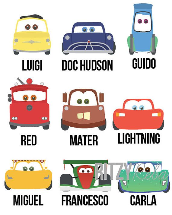 Disney Cars Wall Art Nursery Boy Pixar Inspired Cars by RitzyReba
