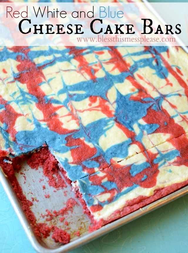 Red White and Blue Cheese Cake Bars for the 4th of July from www.blessthismessplease.com