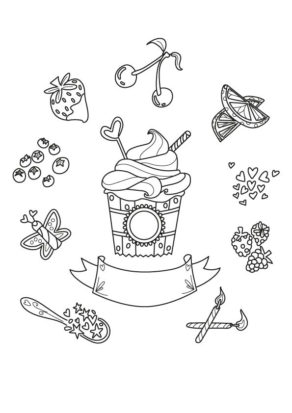 Free Cupcake Coloring Page Coloring Competition