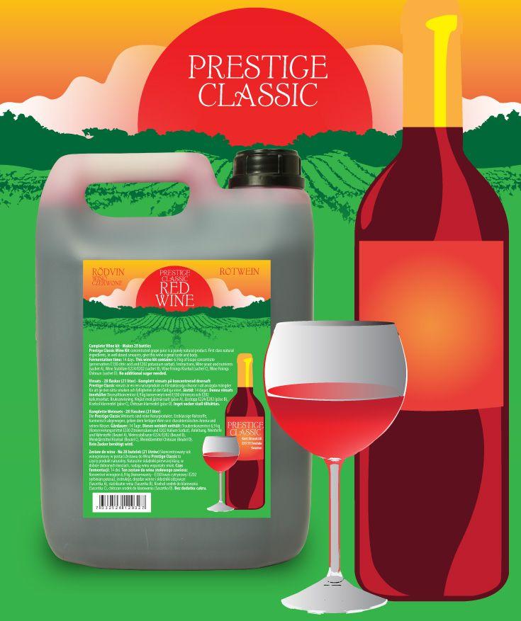 Prestige Classic vinsats 7KG Rödvin Vinsats av hög kvalitet på 6,9 kg druvkoncentrat i 5L plastdunk. Komplett - endast vatten behöver tillsättas.