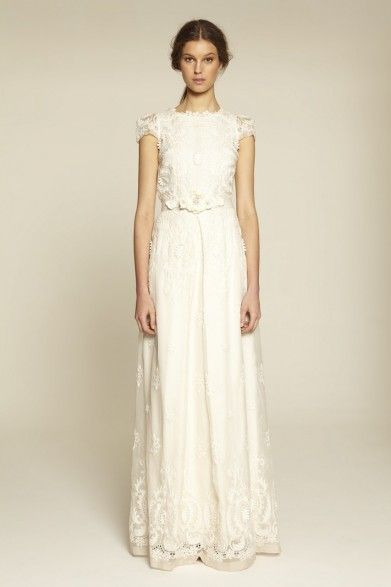 Collette Dinnigan Rococo Embroidered Organza Short Sleeve Bridal Gown