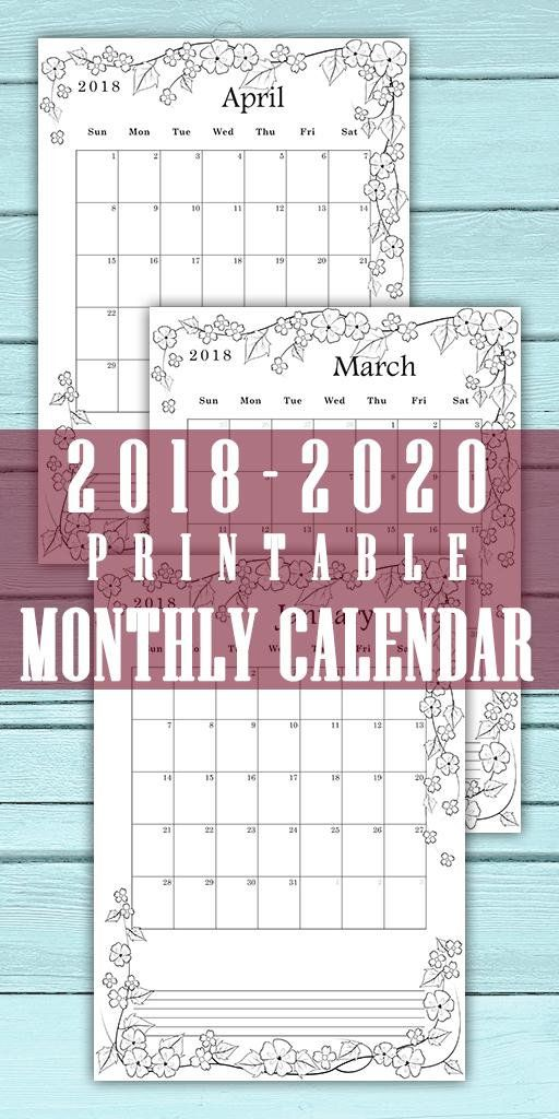 a4 monthly coloring calendar 2018 2019 2020 month per page