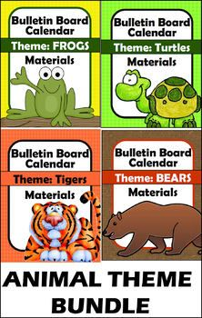 BUNDLE and SAVE! This resource includes 4 complete Bulletin Board / Calendar Materials Sets (1 for each animal: Tiger, Turtle, Frog and Bear). Create colorful bulletin boards for daily calendar (MATH) instruction during opening each day or anytime throughout the day!