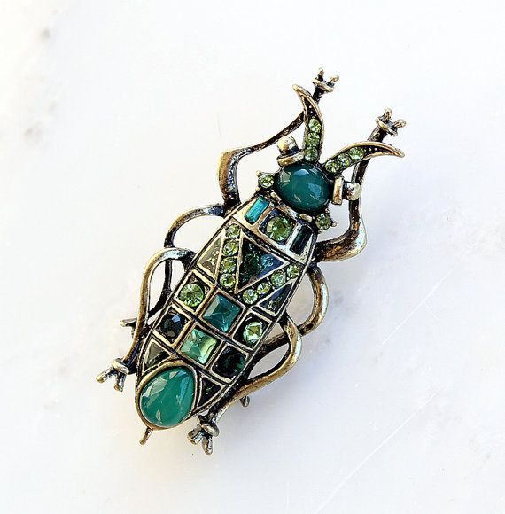 Bug Brooch Pin. Emerald Jade Green Insect Beetle Bug Broach. Art Deco Egyptian Scarab Jewelry