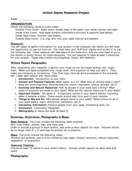 This is a research project for the United States. Students choose a state, conduct research, and create a file folder project. I used this project for my 8th grade geography class, but it is easy to modify for elementary or high school grades.    This download includes project requirements, instructions, rubric, and timeline.