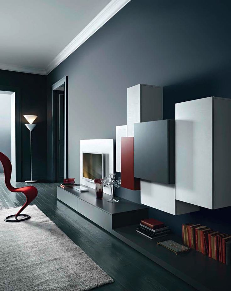 Segno Wall Unit VII By Sangiacomo Italy In Ash Effect Bianco Melamine And Matt Tv FurnitureModern Living Room