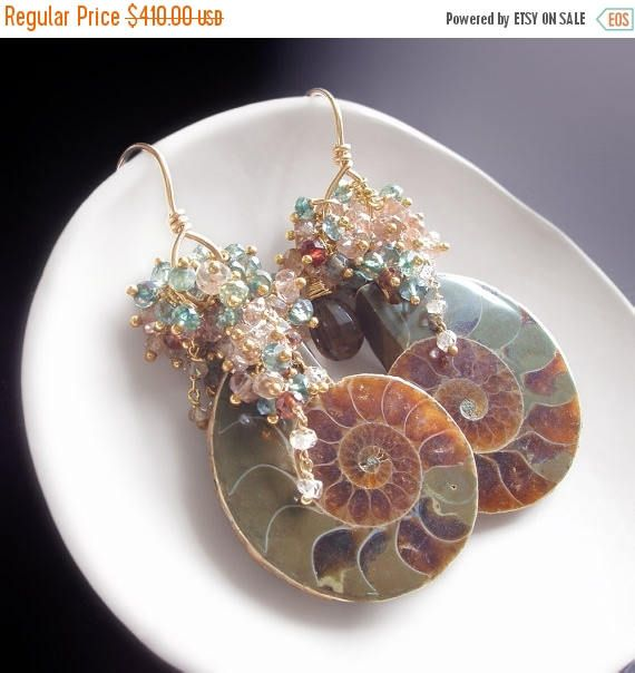 ON SALE  Custom Made to Order  Ammonite Fossil Earrings with