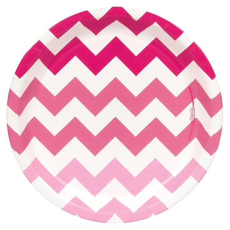 Chevron Pink Dinner Plates from BirthdayExpress.com