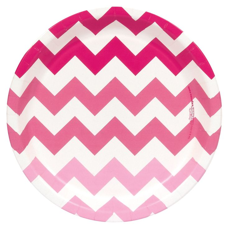Chevron Pink Dinner Plates from BirthdayExpress.com